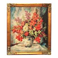 Vintage Still Life Oil Painting Art Deco Floral Flowers