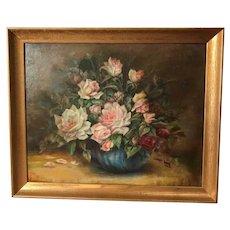 Vintage Roses Oil Painting Still Life Signed Ella Garrow