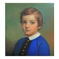 FRANCIS ALEXANDER 19th c. Pastel Painting Portrait of Boy Young Man Victorian Antique