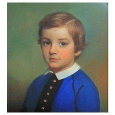 FRANCIS ALEXANDER 19th c. Pastel Painting Portrait of Boy Young Man Victorian Antique