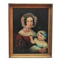 19th c. Portrait Painting Mother & Child Oil on Canvas American School Antique Victorian Woman Lady Folk Art