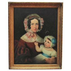 19th c. Portrait Painting Mother & Child Oil on Canvas American School Antique Victorian Woman Lady