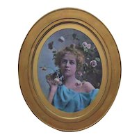 19th c. Romantic Chromolithograph Portrait Girl Woman Lady Antique Victorian Roses