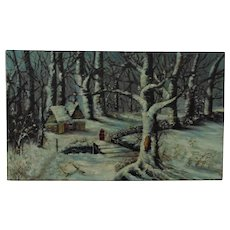 19th c. Landscape Painting Folk Art Primitive Cabin in the Woods Signed Oil on Canvas