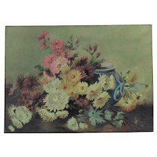 Antique Floral Still Life Oil Painting Chrysanthemums Flowers Signed & Dated 1905