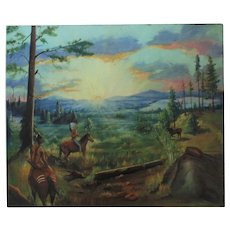 Native American Landscape Oil Painting Indians Moose Hunting Signed
