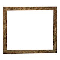 19th c. Tramp Art Picture Frame Carved Wood American Primitive Folk Art for Painting Print Mirror