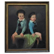 LARGE Antique Portrait Oil Painting of 2 Boys Brothers Children in Sailor Navy Outfits Signed American School