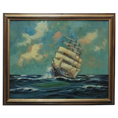 Vintage 3 Mast Sailing Ship Oil Painting Seascape Signed H. Muller Nautical Maritime