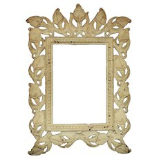 """19th c. Art Nouveau Small Picture Frame Calla Lilies Antique Victorian Metal 4 1/4"""" x 6"""" Opening"""