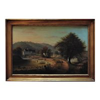 "WILLIAM COVENTRY WALL Autumn Landscape Oil Painting Men Fishing at ""Fleece Plats, Christian Creek, PA"" 1854 Signed Antique"