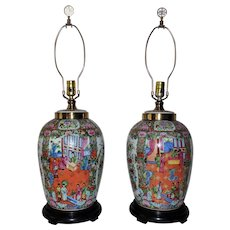 Pair Chinese Export Table Lamps Famille Rose Medallion Asian Oriental Chinoiserie Ginger Jar