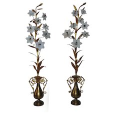 """Pair 32"""" French Brass Mantle Garnitures with Milk Glass Lilies Flowers Floral Urn Form"""