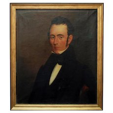 19th c. Portrait Oil Painting Gentleman Man Antique Victorian American School
