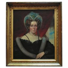 19th c. Portrait Painting Lady Woman English British School Regency Oil on Canvas Antique