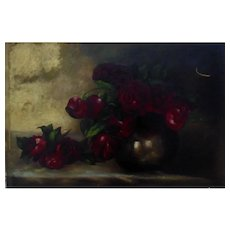 19th c. Victorian Oil Painting Still Life Red Roses Shabby Cottage Chic