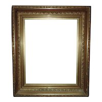 """19th c. Picture Frame Gilt Wood & Gesso Antique Victorian for Painting Print Mirror 16 1/4"""" x 20 1/4"""" Rabbet Opening"""