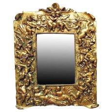 Vintage Gold Plaster Wall Mirror Reclining Nude & Cherubs