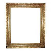 """Impressive LARGE 19th c. Picture Frame Gilt Wood & Gesso Gold Leaf for Painting Portrait Mirror 30"""" x 25 1/2"""" Rabbet Opening"""