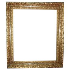 "Impressive LARGE 19th c. Picture Frame Gilt Wood & Gesso Gold Leaf for Painting Portrait Mirror 30"" x 25 1/2"" Rabbet Opening"