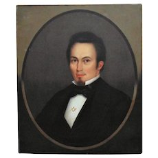 19th c. HORACE BUNDY Signed Portrait Oil Painting Gentleman Man w/ Masonic Pin Antique Victorian American School