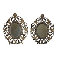 Pair of 19th c. Wall Mirrors French Rococo Style Gilt Metal / Picture Photo Frames Antique