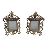 """Pair of 19th c. Picture / Photo Frames French Rococo Style Gilt Metal Antique 6"""" x 4 1/4"""" Rabbet Opening"""