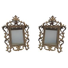 "Pair of 19th c. Picture / Photo Frames French Rococo Style Gilt Metal Antique 6"" x 4 1/4"" Rabbet Opening"