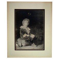"19th c. Young Boy Portrait ""Bubbles"" by John Everett Millais Black & White Print"