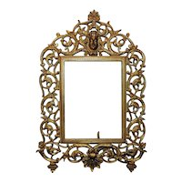 """Ornate 19th c. Victorian Picture Photo Frame National Brass & Iron Works Antique  7"""" x 5 1/4"""" Opening Rabbet"""