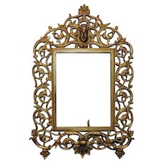"Ornate 19th c. Victorian Picture Photo Frame National Brass & Iron Works Antique  7"" x 5 1/4"" Opening Rabbet"