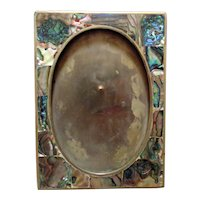 """Vintage Abalone Picture Photo Frame Mother of Pearl M.O.P. 5"""" x 3 1/2"""" Opening"""