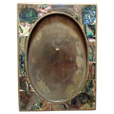 "Vintage Abalone Picture Photo Frame Mother of Pearl M.O.P. 5"" x 3 1/2"" Opening"