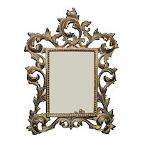 """Antique Picture Photo Frame French Rococo Style 5  1/2"""" x 4"""" Opening Rabbet"""