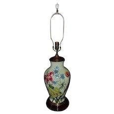 LARGE Vintage Wildwood Table Lamp Signed Pamela Shirley Hand-Painted Floral Flowers on Porcelain