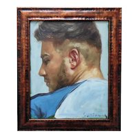 Vintage Portrait Painting Young Gentleman Man Male Signed