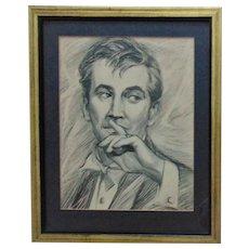 Vintage Portrait Drawing Gentleman Man Male Signed A. Miglio Mid Century Modern