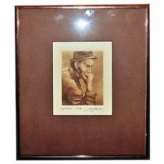 Vintage Portrait Engraving Gentleman Man Male Signed & Numbered 39/80