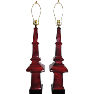 """MONUMENTAL 43 1/2"""" Pair of Red Pagoda Table Lamps Chinese Chinoiserie Asian Mid Century Modern Obelisk"""