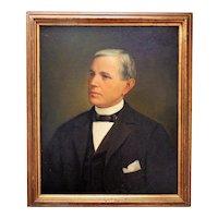 Antique Portrait Painting Gentleman Man Oil on Board American School
