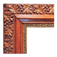 """LARGE Arts & Crafts Picture Frame for Painting Print Portrait Mirror Mission Bungalow Wood & Gesso 24"""" x 20 1/4"""" Opening"""