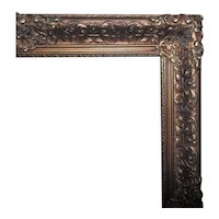 """LARGE 19th c. Picture Frame for Painting Print Portrait Mirror Gilt Wood & Gesso 24 1/4"""" x 20"""" Opening Antique Victorian"""