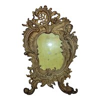 19th c. Picture Photo Frame French Rococo Style Cherub Roses Dolphin Cast-Iron Antique Victorian