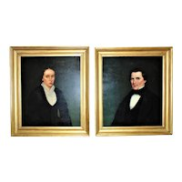 Pair of 19th c. Portrait Paintings Husband & Wife Oil on Canvas Antique Victorian Gentleman Lady Man Woman