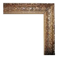 """Vintage Ornate Picture Frame Gilt Wood & Gesso for Portrait Painting Print or Mirror 29 7/8"""" x 24"""" Rabbet Opening"""
