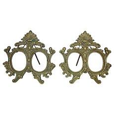 """Pair of Double Photo Frames for Miniature Portraits Vintage Art Nouveau Deco 2"""" x 2 1/2"""" Rabbet Opening"""