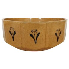 19th c. Yellow Ware Bowl 12 Sided Floral Flower Design Antique Victorian Primitive