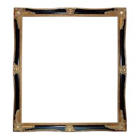 """LARGE Vintage Picture Frame Black & Gold Wood & Gesso for Print Portrait Painting or Mirror Rabbet Opening 29 3/4"""" x 26 3/4"""" Louis XV Style"""