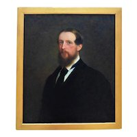 19th c. Portrait Painting of a Gentleman Man Oil on Canvas English British School Antique Victorian