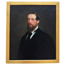 19th c. Portrait Painting of a Gentleman Man Oil on Canvas English British School Antique Victorian